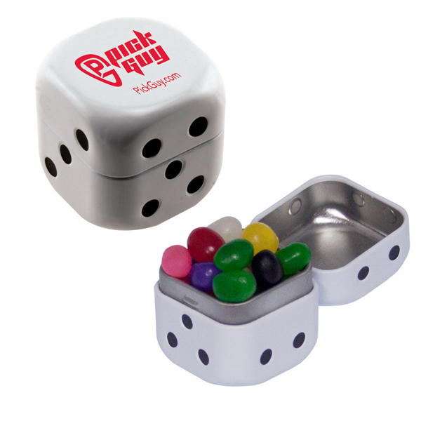 Printed Dice Mint Tin with Jelly Beans