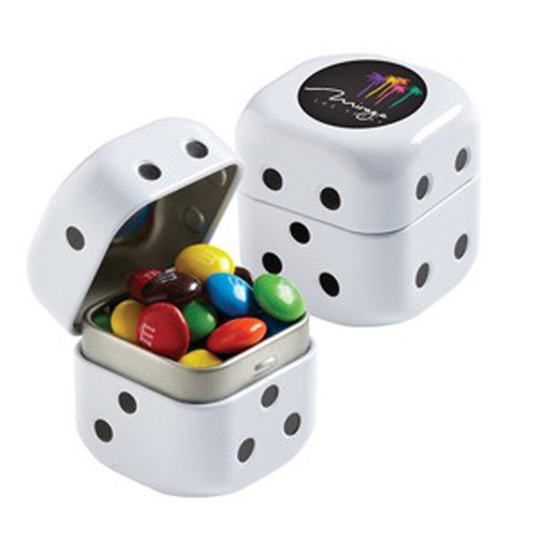 Personalized Dice Tin with Chocolate Covered Candies