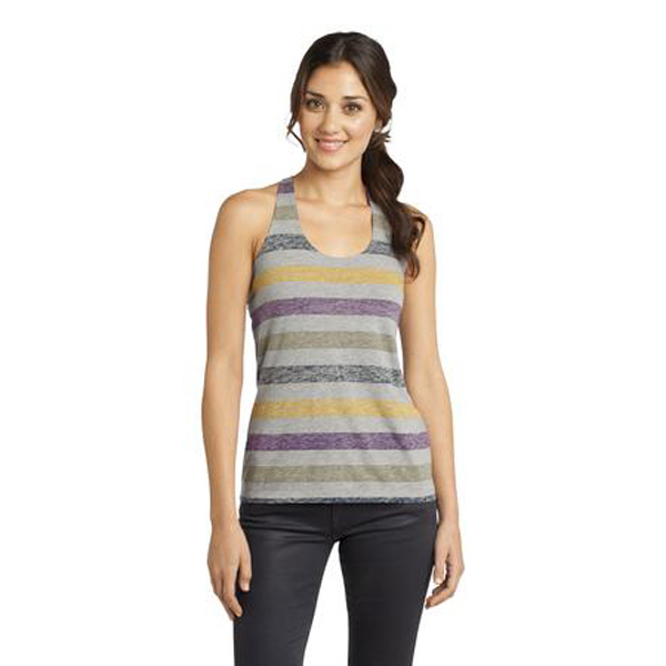 Custom District (R) Juniors Reverse Striped Scrunched Back Tank