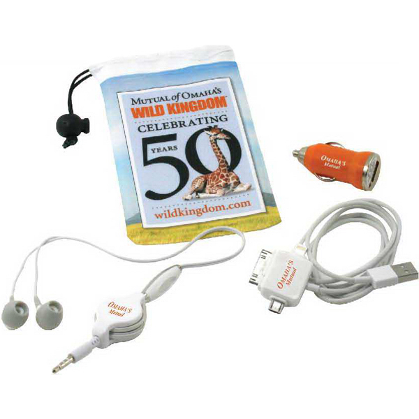 Promotional Drawstring pouch with Earbuds, USB Cord & USB car adapter