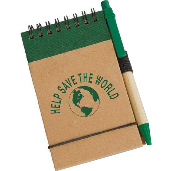 Personalized Eco Pocket Jotter with Eco Paper Barrel Pen
