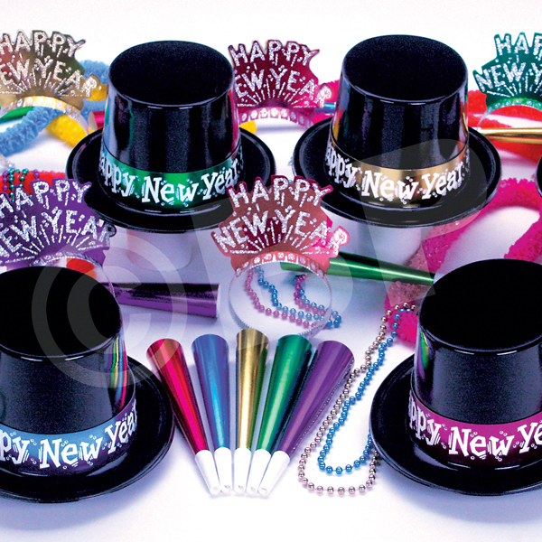 Imprinted Gatsby Black and Silver New Year's Eve Kit for 50