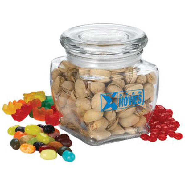 Imprinted Glass Jar with Red Hots