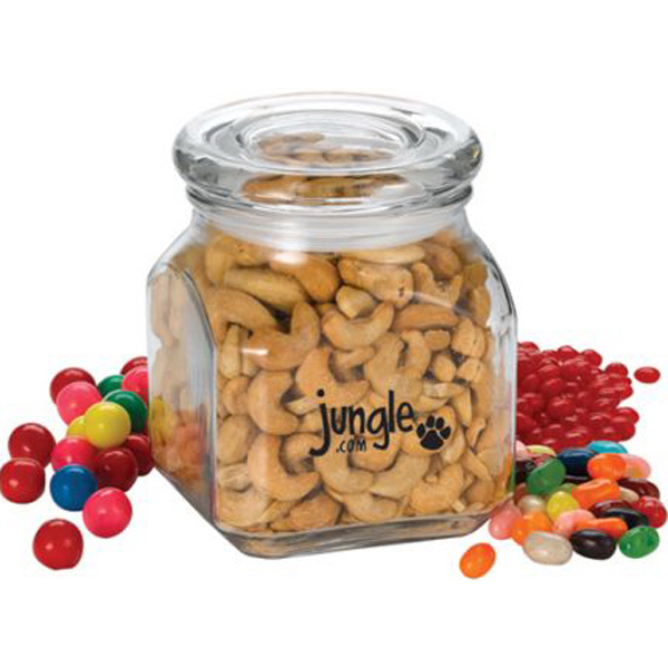 Imprinted Glass Jar with Trail Mix