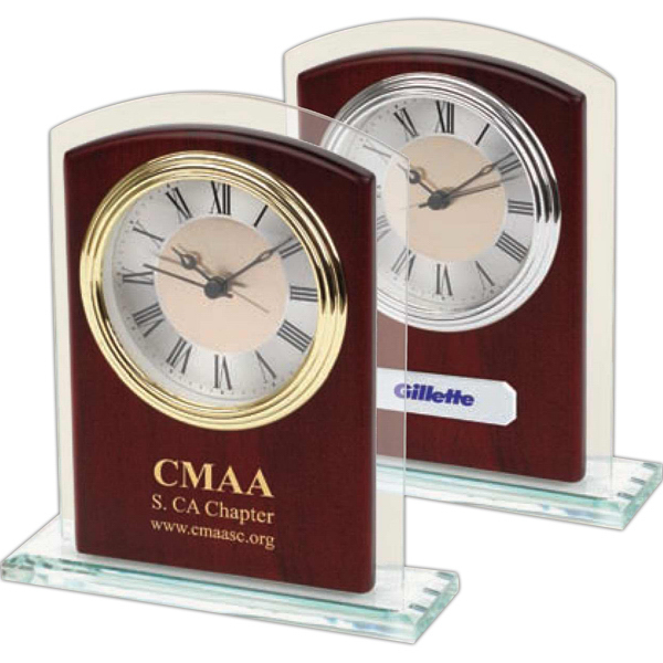 Custom Glass & Wood Silver Desk Alarm Clock