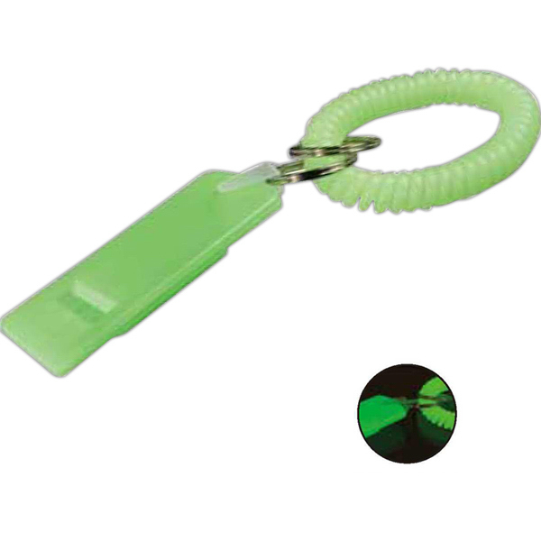 Imprinted Glow-In-The-Dark Flat Whistle
