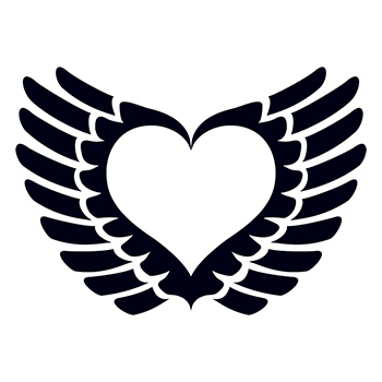 Imprinted Glow in the Dark Winged Heart Temporary Tattoo