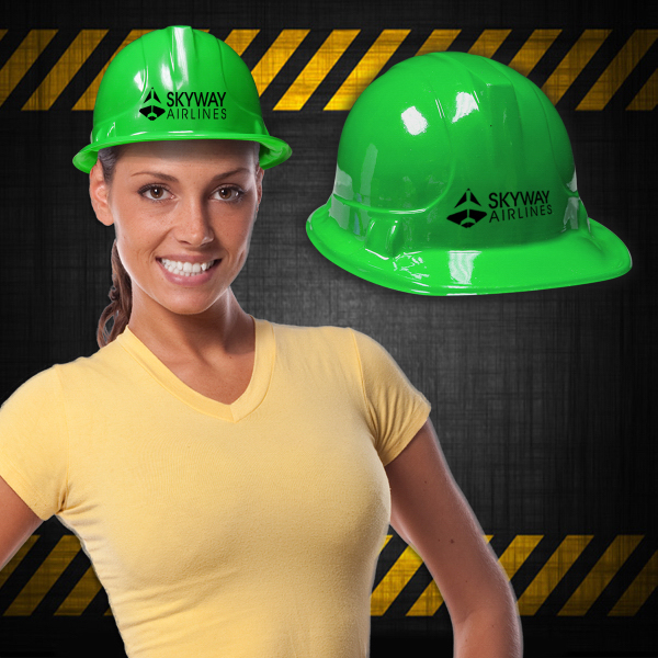Printed Green Plastic Construction Hat