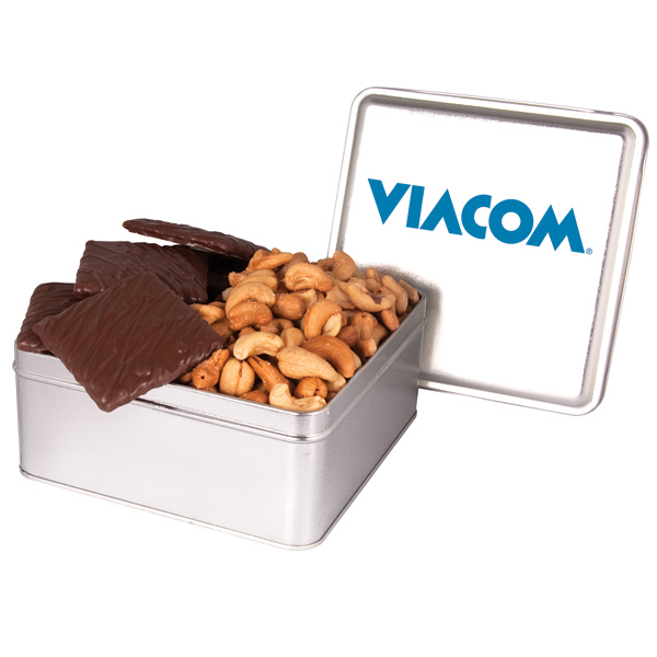 Personalized Imprinted Square tin with Delicious Chocolate and Nuts
