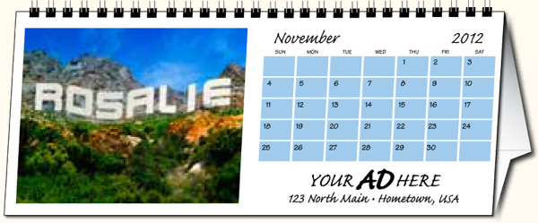 Imprinted In the image personalized desk calendar