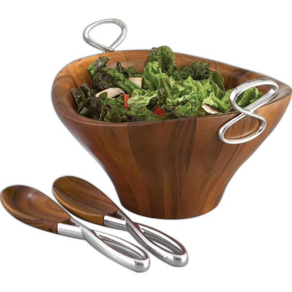 Personalized Infinity Salad Bowl with Servers
