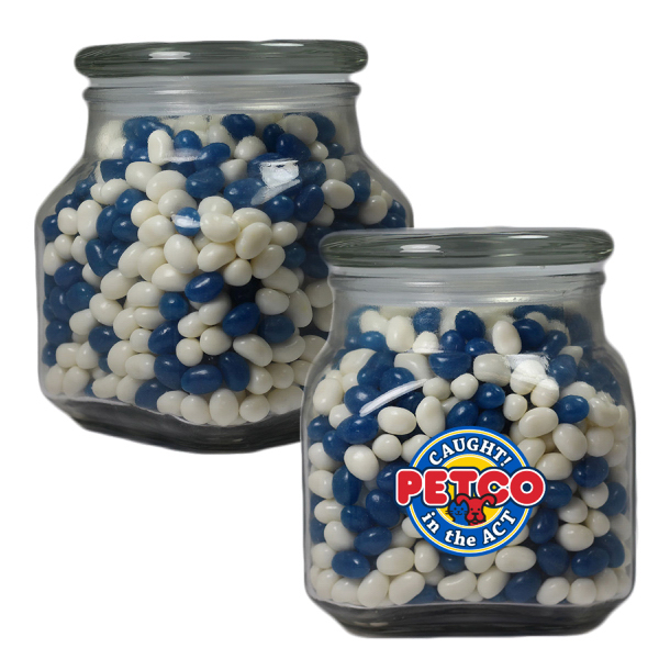 Printed Large Apothecary Jar with Corporate Jelly Beans -  Glass Jar