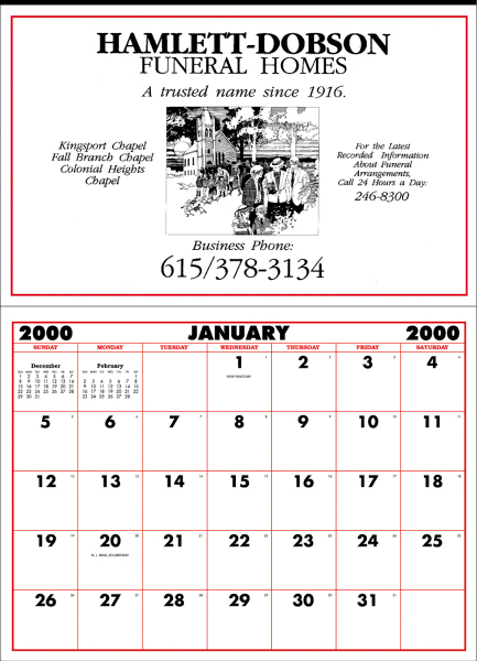 "Printed Large Apron Calendar (21"" x 29) - 1 Color"