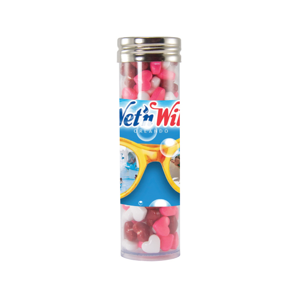 Customized Large Gourmet Plastic Candy Tube with Candy Heart