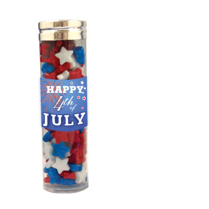 Promotional Large Gourmet Plastic Candy Tube with Candy Stars