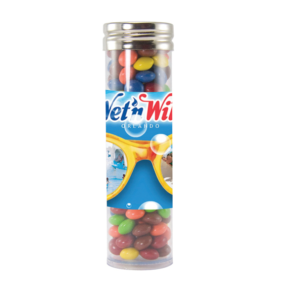 Customized Large gourmet plastic candy tube with Chocolate Littles