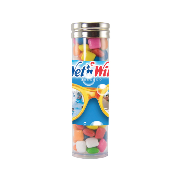 Custom Large Gourmet Plastic Candy Tube with Gum