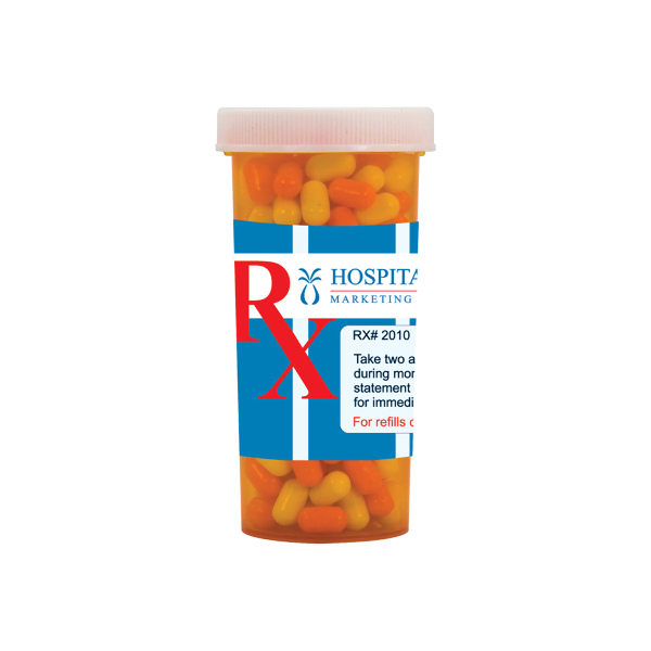 Printed Large Pill Bottle with Colored Bullet Candy