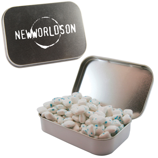 Printed Large Silver Mint Tin with Sugar-Free Gum