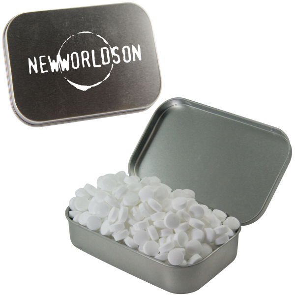 Customized Large Silver Mint Tin with Sugar-Free Mints