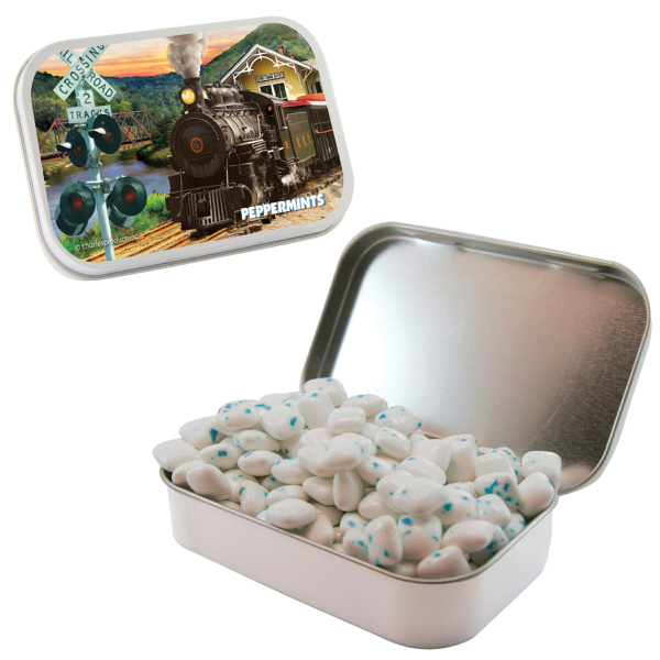 Imprinted Large White Mint Tin with Sugar-Free Gum