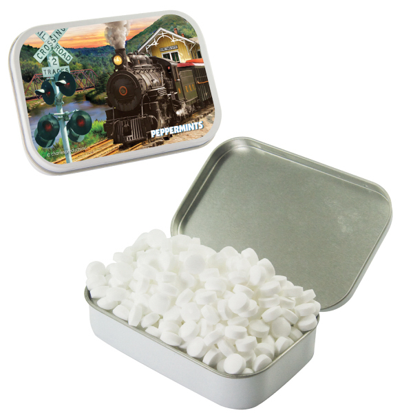 Custom Large White Mint Tin with Sugar-Free Mints