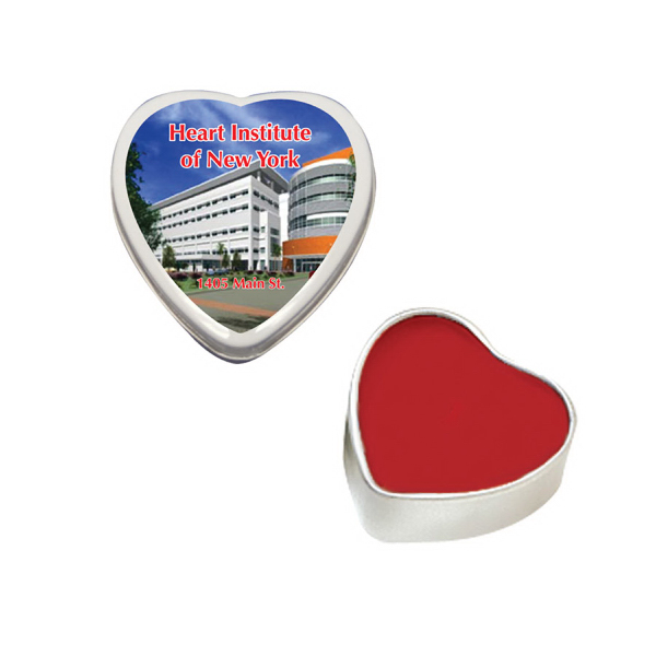 Imprinted Lip Balm Heart Tin