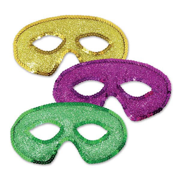 Promotional Mardi Gras Sequin Half Masks