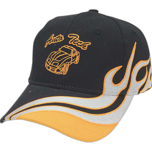 Personalized Medium Profile Brushed Cap with Flame Accent