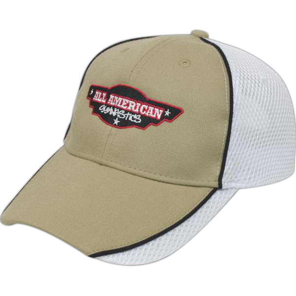 Imprinted Medium Profile Brushed Cap with Sport Mesh and Piping
