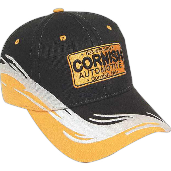Printed Medium Profile Brushed Cap with Visor Accent & Fabric Insert