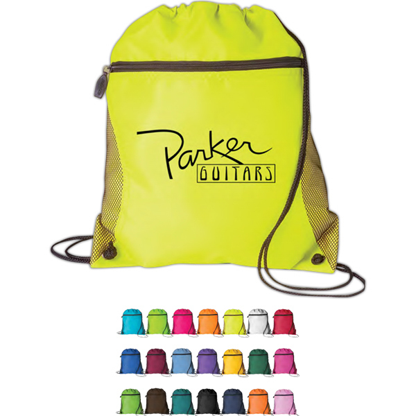 Personalized Mesh Pocket Drawcord Tote