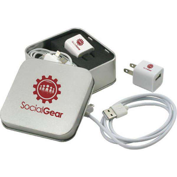 Promotional Metal tin with block A/C adapter & USB Cord