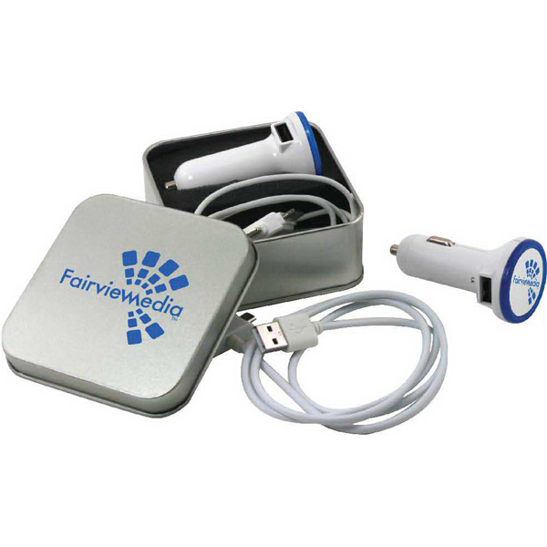 Imprinted Metal tin with  dual USB car adapter & cord