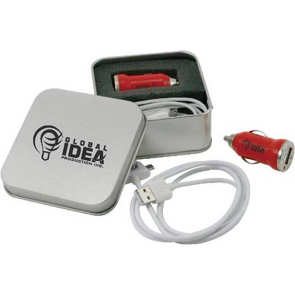 Personalized Metal tin with USB car adapter & USB cord