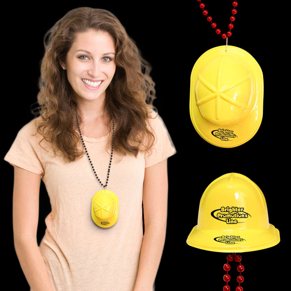 Imprinted Mini Yellow Construction Hat with J-Hook