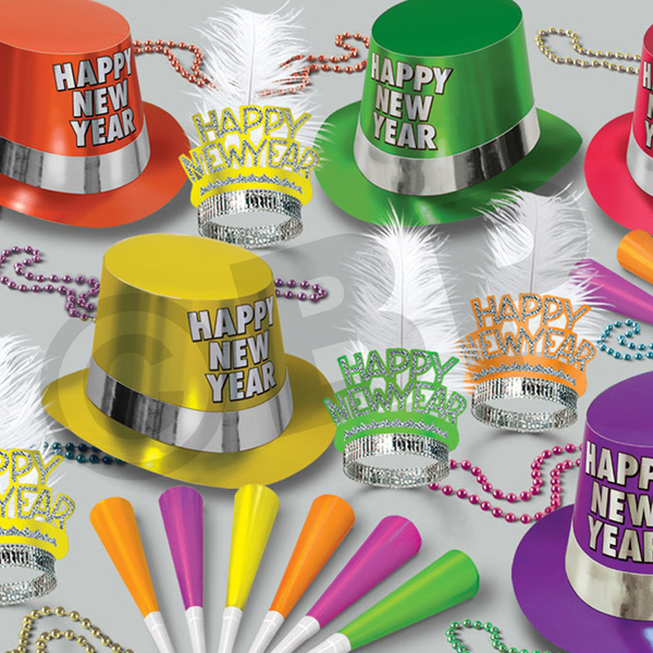 Personalized Multi Color Neon New Year's Party Kit  for 50
