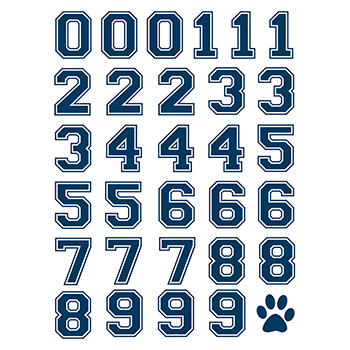 Printed Navy Sports Numbers Temporary Tattoo Sheet