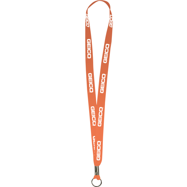 "Imprinted Neon Orange Polyester Lanyards 5/8"" x 36"" - Value Lanyards"