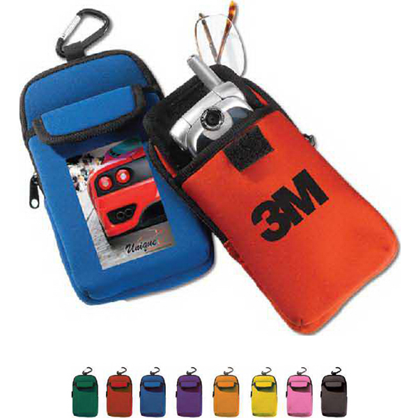 Promotional Neoprene Two Pocket Electronic Holder with Carabiner
