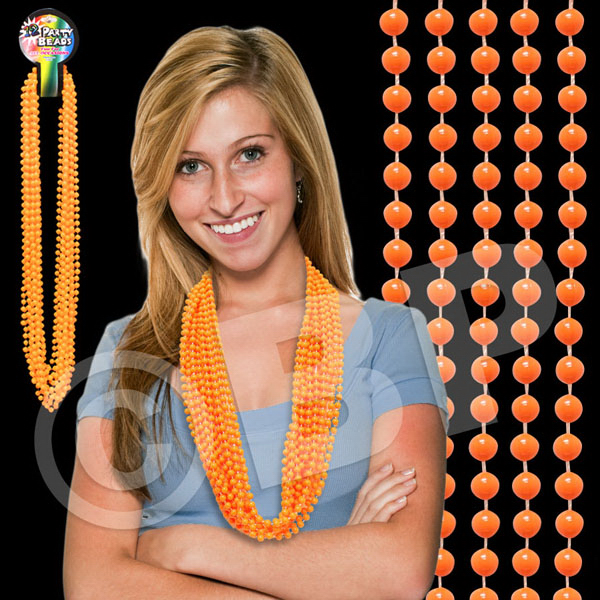 "Personalized Orange 33"" mardi gras Beads"