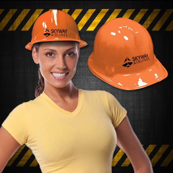 Promotional Orange Plastic Construction Hat