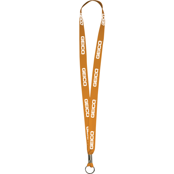 "Personalized Orange Polyester Lanyards 5/8"" x 36"" - Value Lanyards"