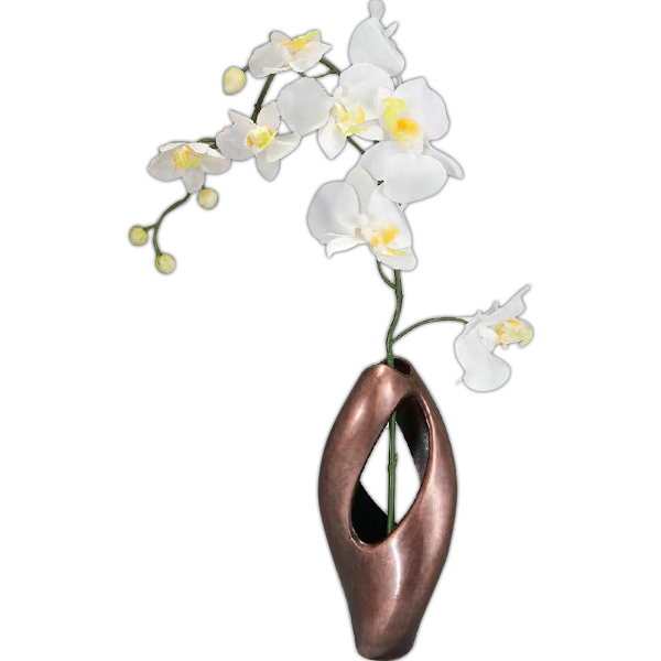 Printed Pebble Twist Bud Vase with Orchid, 8""
