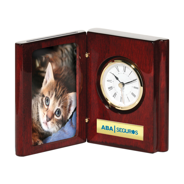 Imprinted Piano Wood (R) Finish Book Clock/Frame