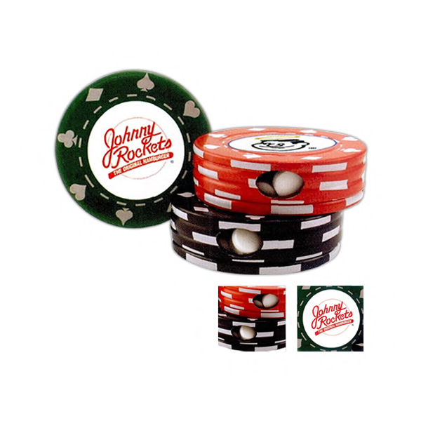 Imprinted Poker Chip Shape Tin Box with Chocolate Mints