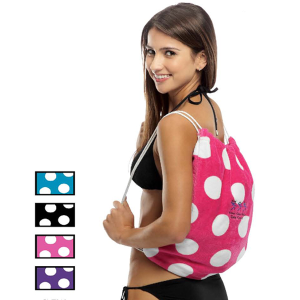 Customized Polka Dot Beach Towel with Self Tote Bag