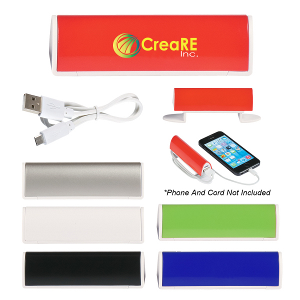 Imprinted Power Bank With Cord Organizer