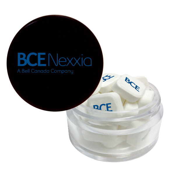 Personalized Printed Mints in Twist Top Container With Black Cap