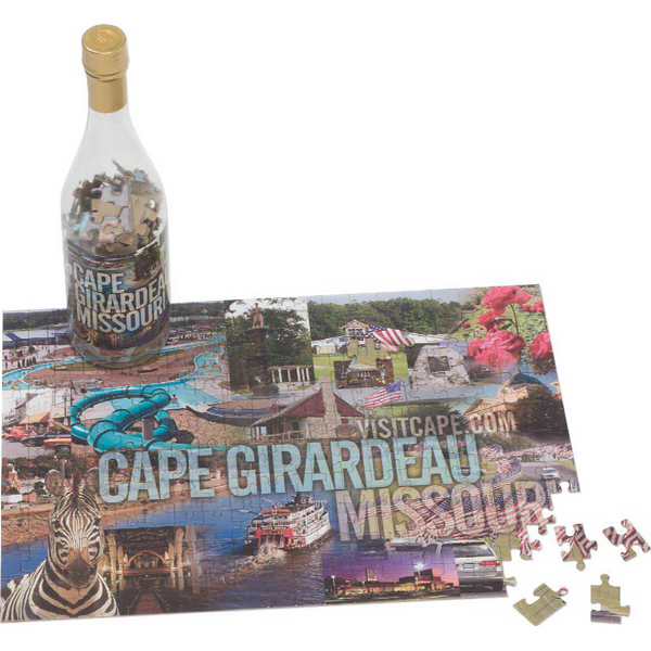 Printed Puzzle in a Wine Bottle